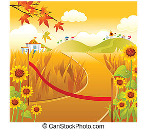 Path with red Ribbon - This illustration is a common natural...