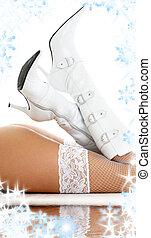 legs in white boots on white sand - legs in white fishnet...