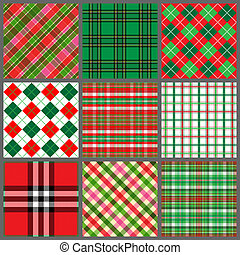 Set of Christmas Plaids - A set of nine plaid background...
