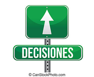decision green sign in spanish