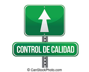 quality control green sign in spanish illustration design...