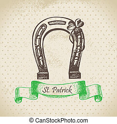 St Patricks Day vintage background Hand drawn illustration...