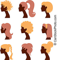 Women silhouettes icons set