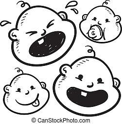 bebê, facial, expressões, Esboço