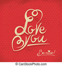 Happy Valentine's Day. Hand lettering in retro style