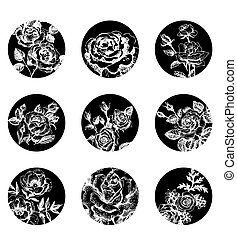 Set of floral banners. Hand drawn rose illustrations