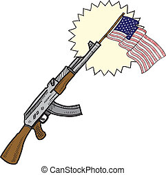 America loves assault rifles sketch - Doodle style America...