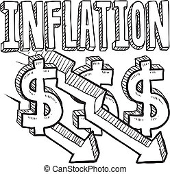 Deflation sketch - Doodle style deflation or inflation...