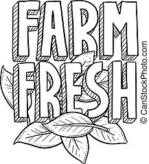 Farm fresh food sketch - Doodle style Farm Fresh food or...