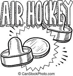 Air hockey sketch - Doodle style air hockey sports...