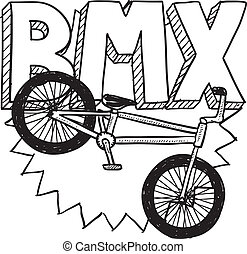 BMX bike sketch - Doodle style BMX bike sports illustration....
