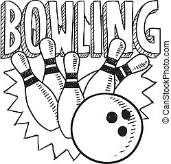 Bowling sketch - Doodle style bowling sports illustration in...