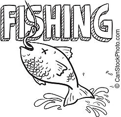 Fishing sports sketch - Doodle style fishing sports...