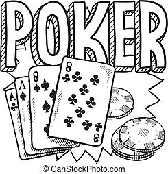 Poker gambling sketch - Doodle style poker card game...