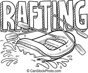 Whitewater rafting sketch - Doodle style whitewater rafting...