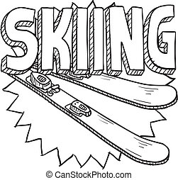 Snow skiing sketch - Doodle style snow skiing sports...