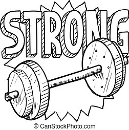 Weightlifting sketch - Doodle style weightlifting sports...