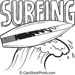 Surfing sketch - Doodle style surfing illustration in vector...