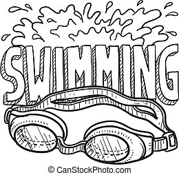Swimming sports sketch - Doodle style swimming sports...