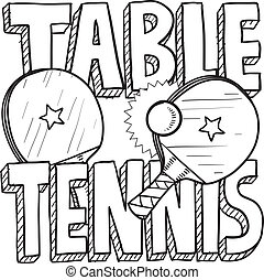 Table tennis sketch - Doodle style table tennis or ping pong...
