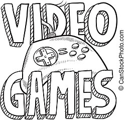 Video games sketch - Doodle style video games sports...