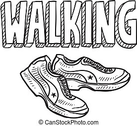 Walking sketch - Doodle style walking sports illustration...