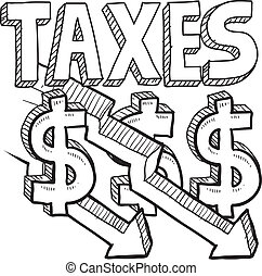Taxes decreasing sketch - Doodle style tax decrease...