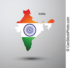 India flag on map