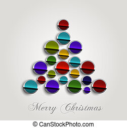 merry christmas stylish circle icon tree colorful whit...