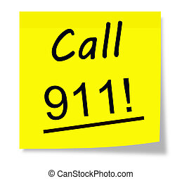 Call 911 written on a square yellow sticky piece of paper
