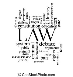 Law Word Cloud Concept in black and white with great terms...