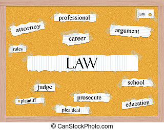 Law Corkboard Word Concept with great terms such as...