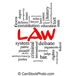 Law Word Cloud Concept in red caps with great terms such as...