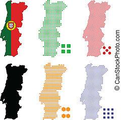 Portugal - Vector illustration pixel map of Portugal.
