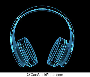 Headphones 3D x-ray blue transparent isolated on black