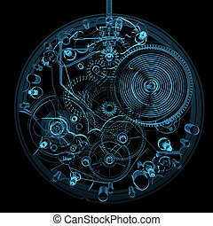 Watch isolated on black - Watch (3D xray blue transparent)