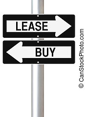 Lease or Buy - Conceptual one way street signs on leasing or...