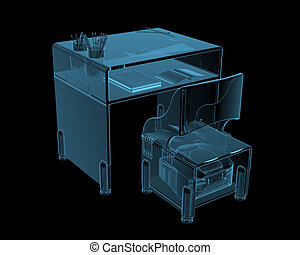 Class desk (3D x-ray blue transparent isolated on black)