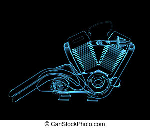 Motocycle engine 3D x-ray blue transparent isolated on black...