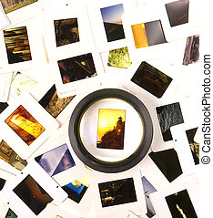 Mounted Slide Film and Loupe Sitting on The Lightbox - A...