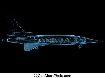 Jet plane (3D x-ray blue transparent isolated on black)