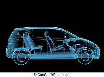 Family van 3D x-ray blue transparent isolated on black