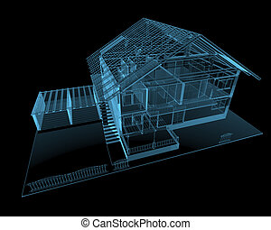 Residential house 3D x-ray blue transparent isolated on...