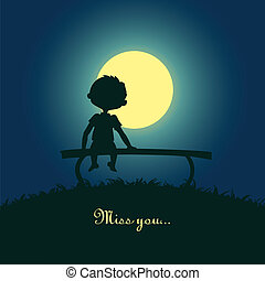 Boy sitting lonely in the moonlight - Silhouette of a boy...