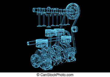 Engine 3D x-ray blue transparent isolated on black