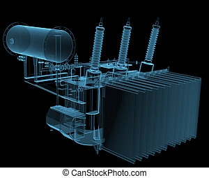 Transformator substation 3D x-ray blue transparent isolated...