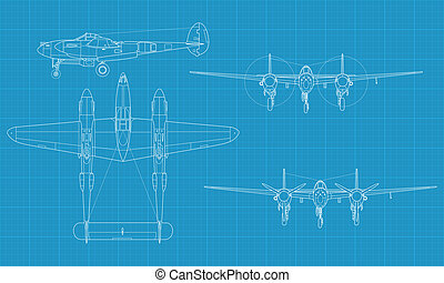 P38 Lighting - High detailed vector illustration of old...