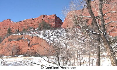 Red Rock Canyon Open Space in Colorado in the Winter