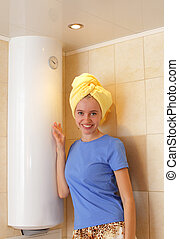 Girl about water heater - Happiness girl about a water...