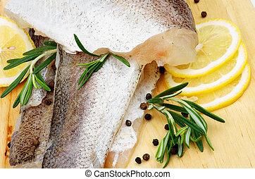 Raw Fish - Arrangement of Fillet Raw Fish Hake, Lemon and...